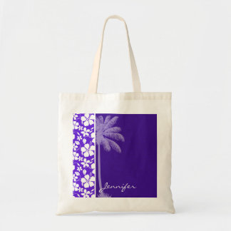 Tropical Purple Hibiscus Tote Bag