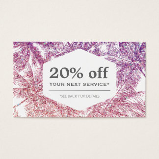 Tropical Purple/Pink Glitter Palms Discount Card