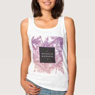Tropical Purple/Pink Glitter Palms Tank Top