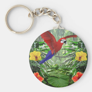 Tropical Rain Forest Basic Round Button Key Ring