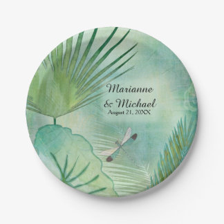 Tropical Rain Forest Leaves Dragonfly Weddings 7 Inch Paper Plate