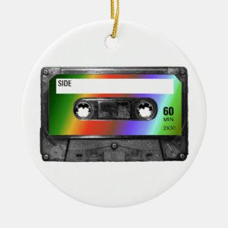 Tropical Rainbow Label Cassette Round Ceramic Decoration