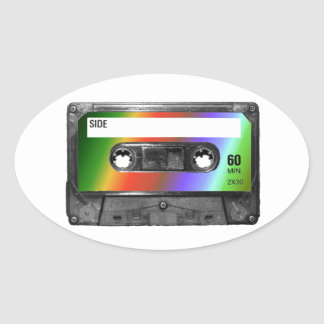 Tropical Rainbow Label Cassette Oval Sticker
