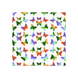 Tropical Rainbow Swirl Butterflies Gallery Wrap Canvas