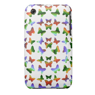 Tropical Rainbow Swirl Butterflies Case-Mate iPhone 3 Cases