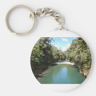 Tropical Rainforest and River in New Guinea Basic Round Button Key Ring