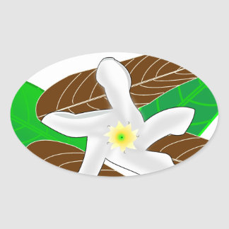 Tropical Rainforest Flower Oval Sticker