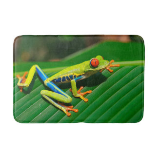 Tropical rainforest green red-eyed tree Frog Bath Mats