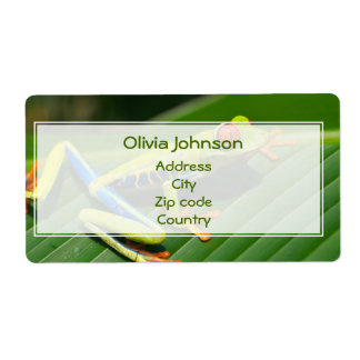 Tropical rainforest green red-eyed tree Frog Shipping Label