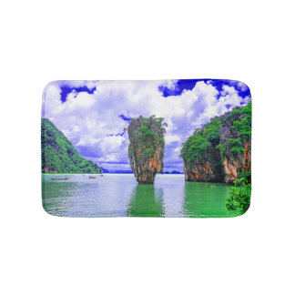 Tropical Rainforest Island Cliffs Bath Mat