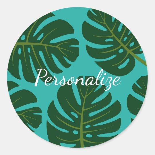 Tropical rainforest palm leaf floral favour classic round