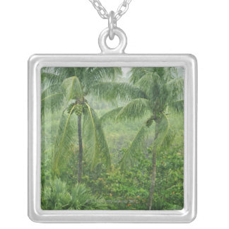 Tropical rainforest silver plated necklace