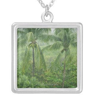 Tropical rainforest square pendant necklace
