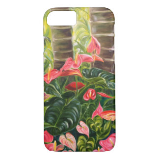 Tropical Red and Pink Anthurium Jungle iPhone 7 Case