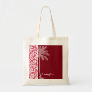 Tropical Red Damask Canvas Bags