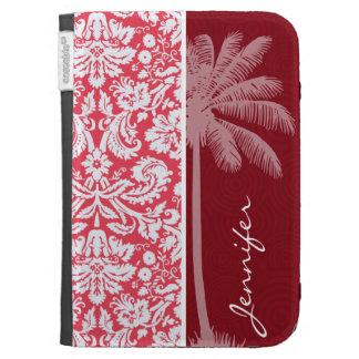 Tropical Red Damask Kindle Case