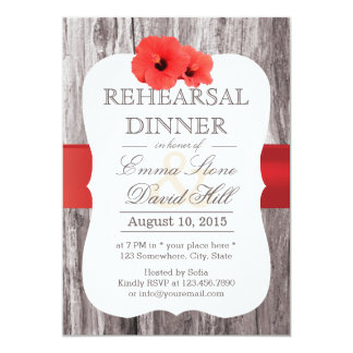 Tropical Red Hibiscus Wood Rehearsal Dinner 5x7 Paper Invitation Card