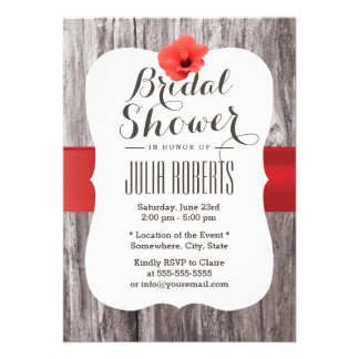 Tropical Red Hibiscus Wooden Bridal Shower Custom Announcements