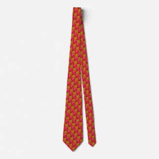 Tropical Red Lily Pattern Tie