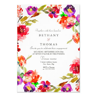 Tropical Red Purple Floral Engagement Party Invite