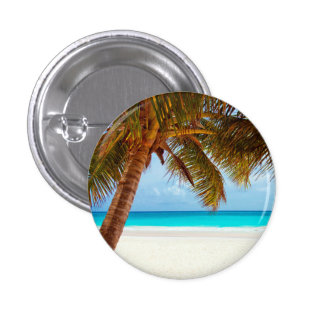 Tropical Relaxing Beach Palm Scene 3 Cm Round Badge