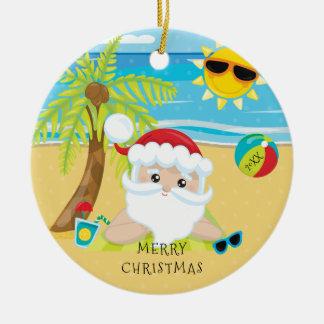 Tropical Relaxing Santa Hawaiian Christmas Round Ceramic Decoration