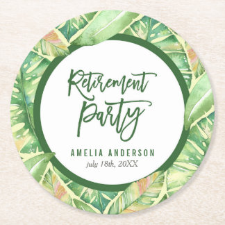 Tropical Retirement Party Green Watercolor Leaves Round Paper Coaster
