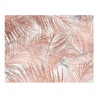 Tropical rose gold palm tree leaf marble pattern postcard