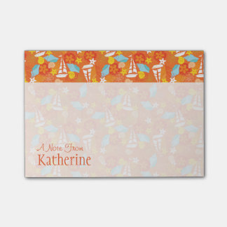 Tropical Sailboat Pattern   Add Your Name Post-it Notes
