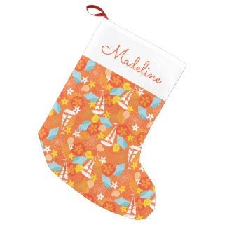 Tropical Sailboat Pattern | Add Your Name Small Christmas Stocking