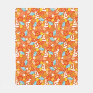 Tropical Sailboat Pattern Fleece Blanket