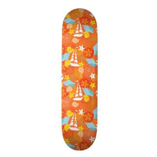 Tropical Sailboat Pattern Skateboard Deck
