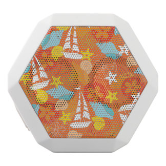 Tropical Sailboat Pattern White Bluetooth Speaker