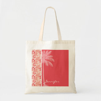 Tropical Salmon Coral Pink Floral Pattern Tote Bag