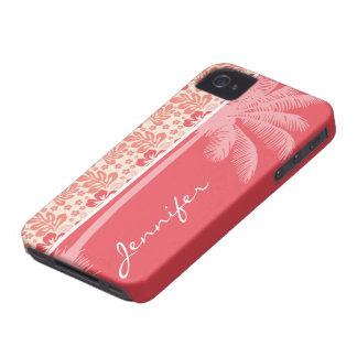 Tropical Salmon & Coral Pink Floral Pattern iPhone 4 Cover