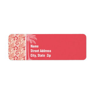 Tropical Salmon & Coral Pink Floral Pattern Return Address Label