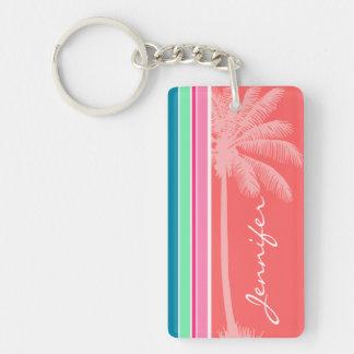 Tropical Salmon Pink & Seafoam Green Acrylic Keychain