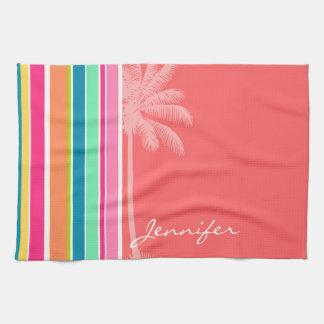 Tropical Salmon Pink & Seafoam Green Tea Towel