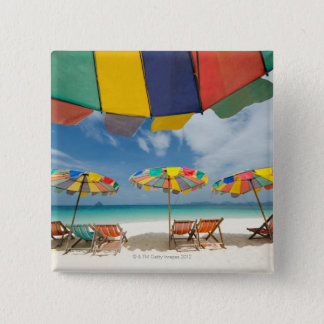 Tropical sand beach and turquoise sea. 2 15 cm square badge
