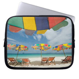 Tropical sand beach and turquoise sea. 2 laptop sleeve