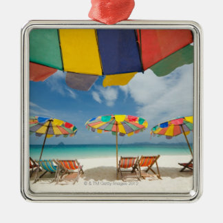 Tropical sand beach and turquoise sea. 2 Silver-Colored square decoration