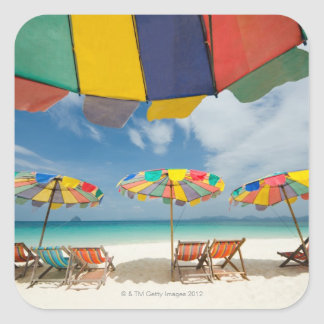 Tropical sand beach and turquoise sea. 2 square sticker