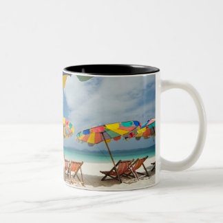 Tropical sand beach and turquoise sea. 2 Two-Tone coffee mug