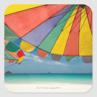 Tropical sand beach and turquoise sea. square sticker