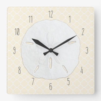 Tropical Sand Dollar Cream Quatrefoil Square Wall Clock