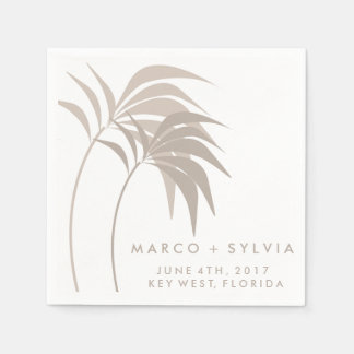 Tropical Sand Palm Tree Beach Wedding Napkins Disposable Napkin