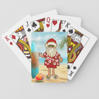 Tropical Santa Beach Playing Cards
