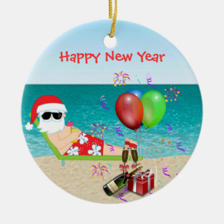 Tropical Santa Christmas Ornament New Years