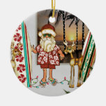 Tropical Santa Christmas Ornament with Surf Board