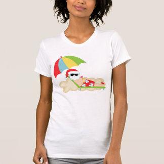 Tropical Santa on Beach Tee Shirts